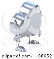 Clipart 3d Silver Cloud Pouting Royalty Free CGI Illustration