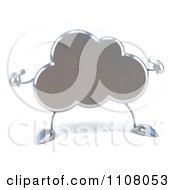 Clipart 3d Silver Cloud Pointing At Itself Royalty Free CGI Illustration