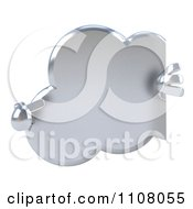 Clipart 3d Silver Cloud With A Sign 2 Royalty Free CGI Illustration