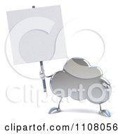 Clipart 3d Silver Cloud With A Sign 3 Royalty Free CGI Illustration