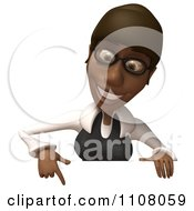 Clipart 3d Black Businesswoman With Glasses And A Sign 2 Royalty Free CGI Illustration