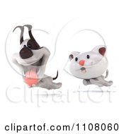 3d White Kitten Chasing A Jack Russell Terrier Dog