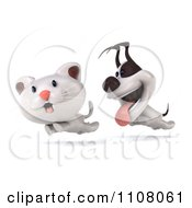 3d Jack Russell Terrier Dog Chasing A Cat
