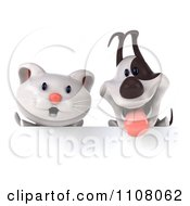 Clipart 3d White Kitten And Jack Russell Terrier Dog Over A Sign Board Royalty Free CGI Illustration by Julos