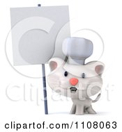 Clipart 3d White Kitten Chef With A Sign 1 Royalty Free CGI Illustration
