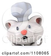 Clipart 3d White Kitten Chef With A Sign 2 Royalty Free CGI Illustration