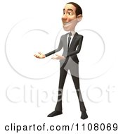 Clipart 3d White Businsesman Presenting Royalty Free CGI Illustration