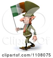 3d Leprechaun Holding An Irish Flag 2