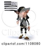 3d Korrigan Dwarf Holding A Breton Flag 1