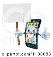 3d Happy Silver Touch Screen Smart Cell Phone Holding A Thumb Up And Sign