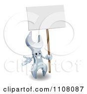 Clipart 3d Spanner Wrench Character With A Sign Royalty Free Vector Illustration