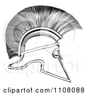 Clipart Outlined Spartan Corinthian Helmet Royalty Free Vector Illustration