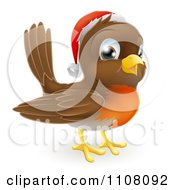 Clipart Cute Christmas Robin Wearing A Santa Hat Royalty Free Vector Illustration