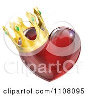 3d Red Shiny Heart With A King Crown