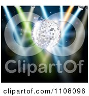 Clipart 3d Silver Disco Ball With Stage Lights On Black Royalty Free Vector Illustration