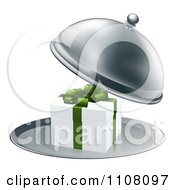 Clipart 3d Gift Box In A Silver Platter Royalty Free Vector Illustration