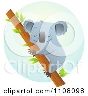 Clipart Happy Koala Hugging A Tree Over A Blue Circle Royalty Free Vector Illustration