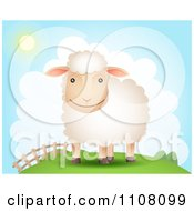 Clipart Happy Sheep On A Hill Near A Fence On A Sunny Day Royalty Free Vector Illustration
