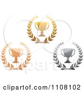 Clipart Gradient Bronze Gold And Silver Trophy Cups And Laurels Royalty Free Vector Illustration