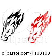 Clipart Black And Red Tribal Horse Heads Royalty Free Vector Illustration