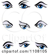 Clipart Blue Expressional Eyes With Purple Eye Shadow Royalty Free Vector Illustration by Vector Tradition SM