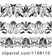 Clipart Black And White Art Deco Border Design Elements Royalty Free Vector Illustration