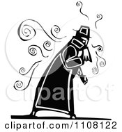 Clipart Sick Old Man Coughing Black And White Woodcut Royalty Free Vector Illustration