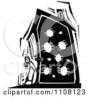 Clipart Girl Standing Outside A House Infested With Bugs Black And White Woodcut Royalty Free Vector Illustration by xunantunich