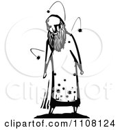 Clipart Man Infested With Bugs Black And White Woodcut Royalty Free Vector Illustration