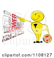 Yellow Man With A Guarantee Seal And Web Design Word Collage