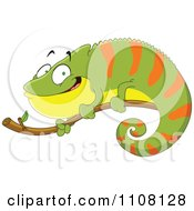 Happy Green And Orange Chameleon Lizard On A Branch