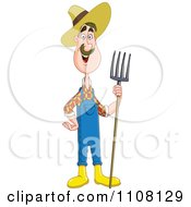 Clipart Happy Farmer Man Holding A Pitchfork Royalty Free Vector Illustration