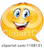 Clipart Happy Chat Balloon Emoticon Face Royalty Free Vector Illustration