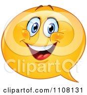 Clipart Happy Chat Balloon Emoticon Face Royalty Free Vector Illustration by yayayoyo