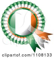Clipart Shiny Irish Flag Rosette Bowknots Medal Award Royalty Free Vector Illustration by MilsiArt