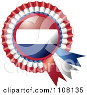 Clipart Shiny Netherlands Flag Rosette Bowknots Medal Award Royalty Free Vector Illustration by MilsiArt