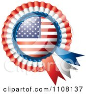 Clipart Shiny American Flag Rosette Bowknots Medal Award Royalty Free Vector Illustration
