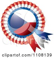 Clipart Shiny Czech Republic Flag Rosette Bowknots Medal Award Royalty Free Vector Illustration