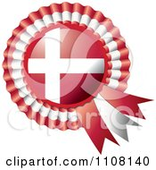 Clipart Shiny Denmark Flag Rosette Bowknots Medal Award Royalty Free Vector Illustration