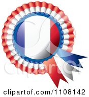 Clipart Shiny French Flag Rosette Bowknots Medal Award Royalty Free Vector Illustration by MilsiArt