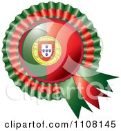 Clipart Shiny Portugese Flag Rosette Bowknots Medal Award Royalty Free Vector Illustration
