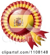 Clipart Shiny Spanish Flag Rosette Bowknots Medal Award Royalty Free Vector Illustration by MilsiArt