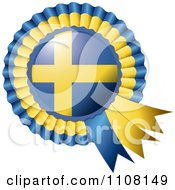 Clipart Shiny Sweden Flag Rosette Bowknots Medal Award Royalty Free Vector Illustration by MilsiArt