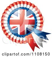 Clipart Shiny UK Flag Rosette Bowknots Medal Award Royalty Free Vector Illustration by MilsiArt