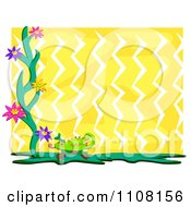 Chameleon Lizard With Flowers Over Yellow Zig Zags With White Edges
