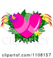 Pink Heart With Tropical Flowers Leaves And Wings