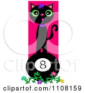 Black Cat On A Billiards Eight Ball Over Pink Stripes