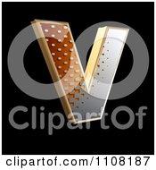 3d Halftone Capital Letter V On Black