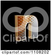 3d Halftone Lowercase Letter N On Black