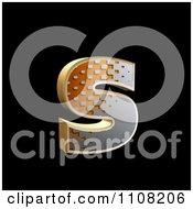3d Halftone Lowercase Letter S On Black